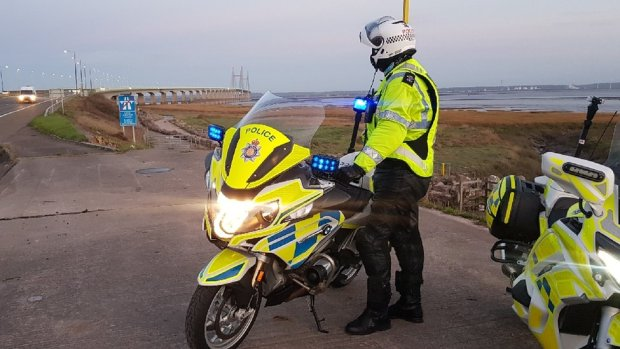 Police motorcycle officer from Gwent Police on Welsh side of the Severn