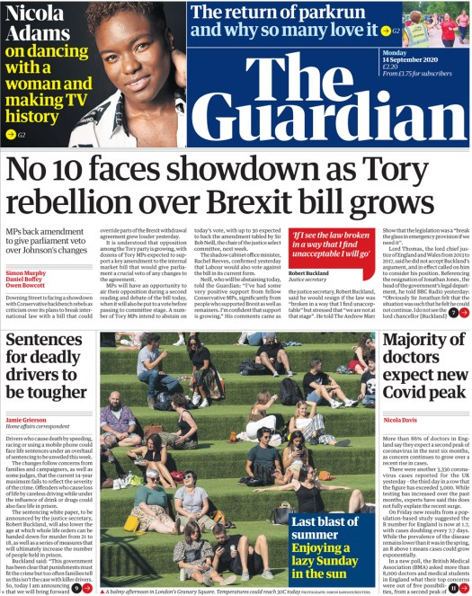 The Guardian front page 14 September