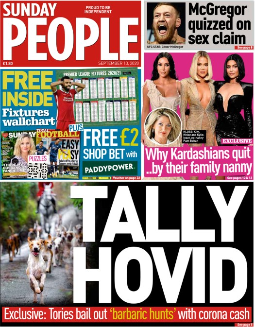 The Sunday People front page 13 September