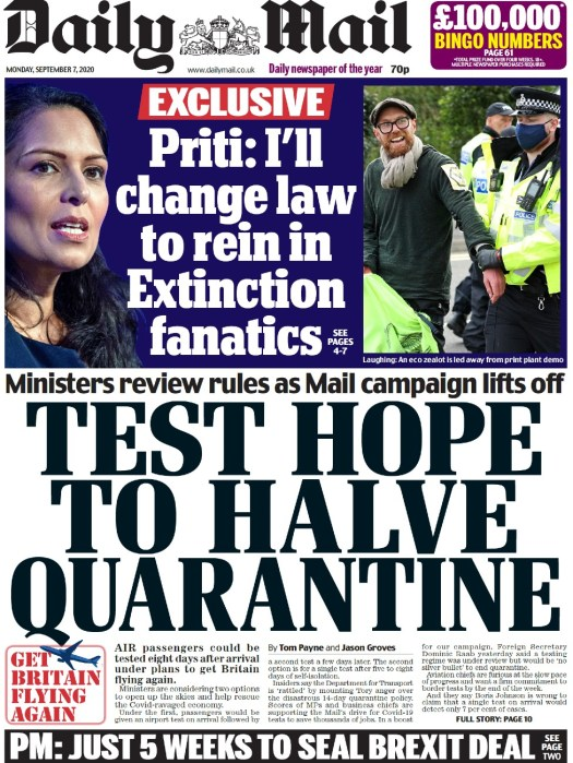 Daily Mail front page, 7/9/20