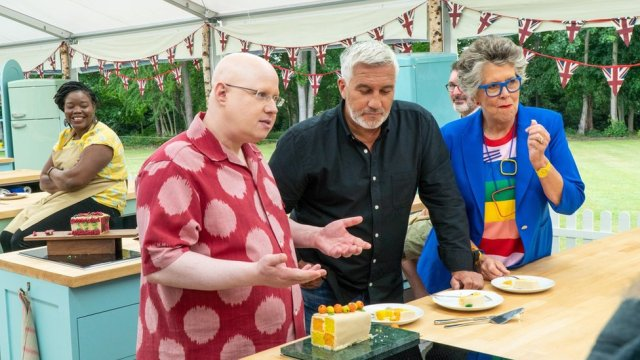 Matt Lucas with Paul Hollywood, Prue Leith and contestants Hermine and Marc