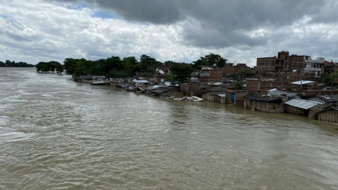 A flooded village in Darbhanga