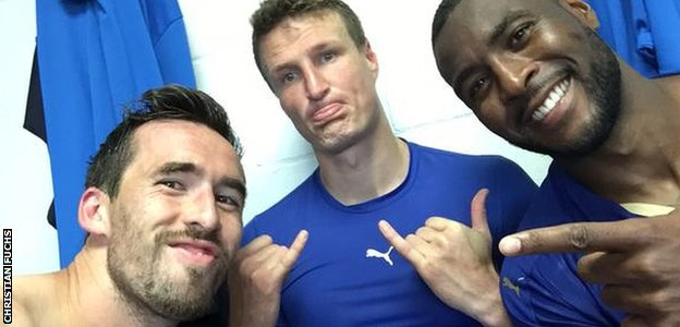 Christian Fuchs, Robert Huth and Wes Morgan