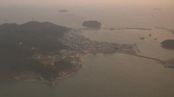 Imagen aérea de Corea del Sur, con el aire contaminado