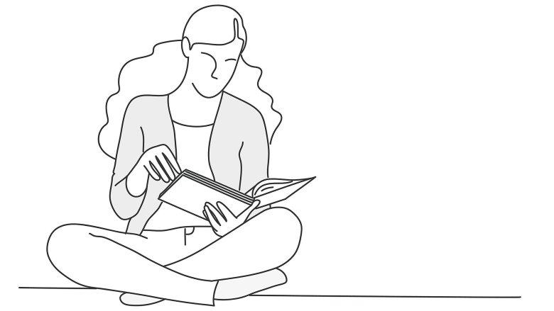 Ilustración de mujer leyendo libro