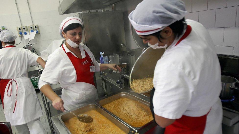 La cocina de una escuela italiana
