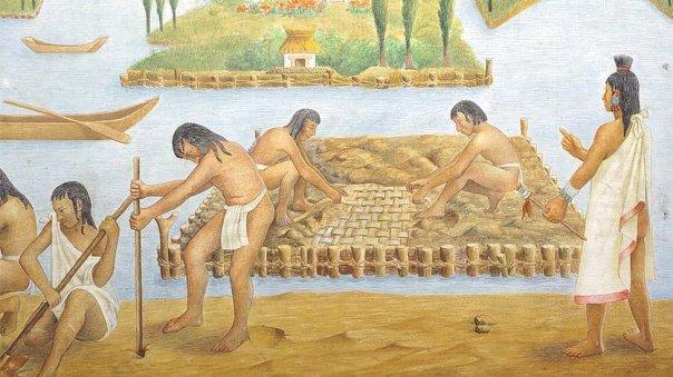 Ilustración de la construcción de Tenochtitlán.