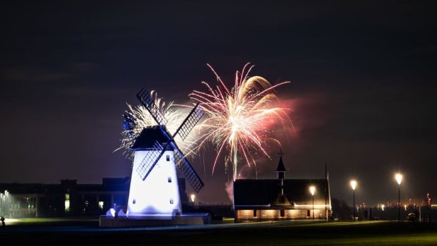 Fireworks behind a windmill in Lytham St Annes, Lancashire