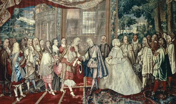 Tapiz del siglo XVII que muestra cómo Luis XIV de Francia y Felipe IV de España se encontraron en la isla de los Faisanes en 1660.