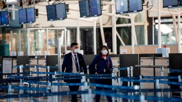 Aeropuerto en Santiago en mayo de 2020.