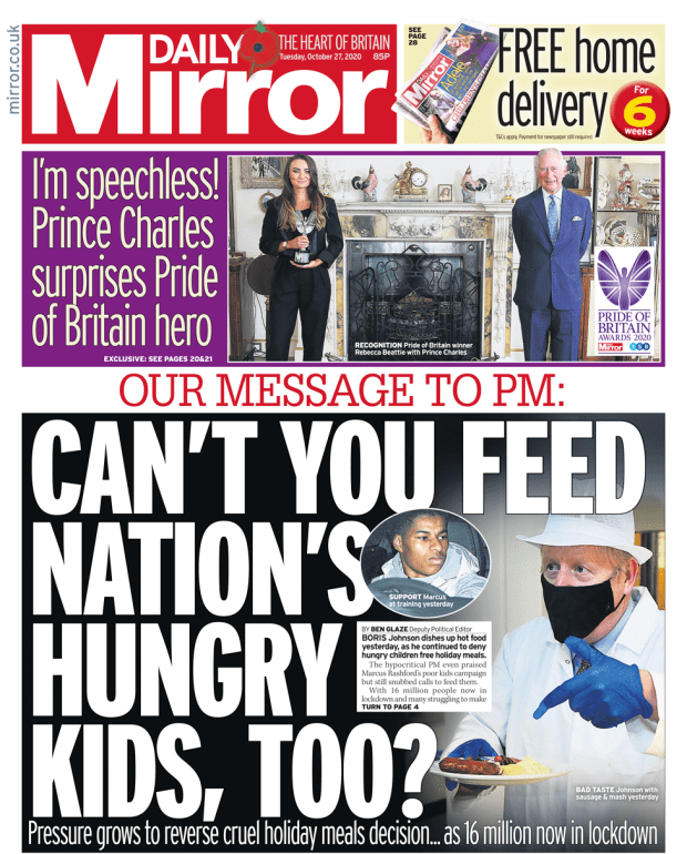 Daily Mirror front page 27/10/20