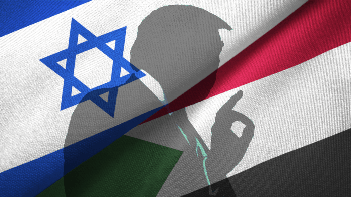 Trump silhouetted over the flags of Israel and Sudan