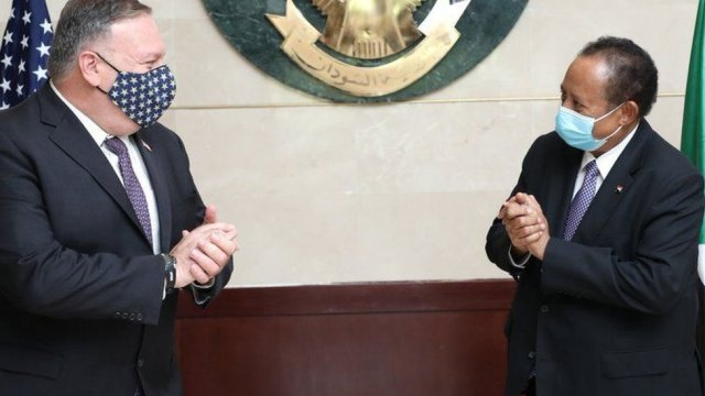 US Secretary of State Mike Pompeo meets Sudan's Prime Minister Abdalla Hamdok in Khartoum, Sudan - 25 August 2020