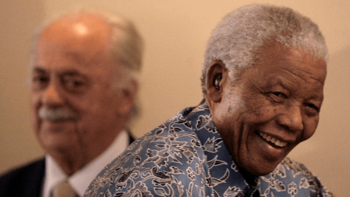 George Bizos and Nelson Mandela in 2009