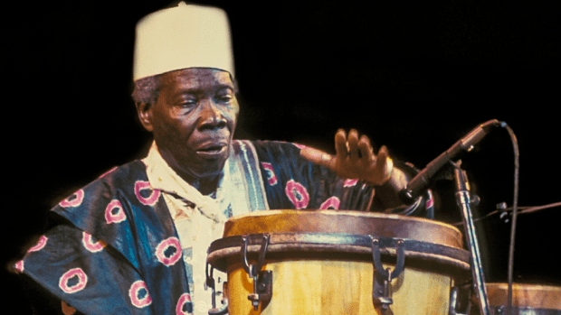 Babatunde Olatunji at a Lincoln Center Out Of Doors concert in Damrosch Park in New York, the US - August 1997