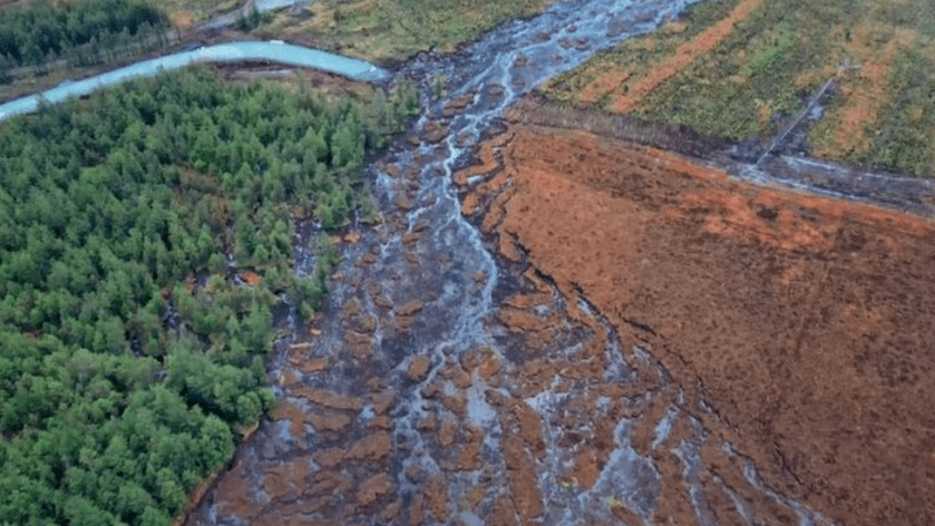 The waterway running into the Derg is shown clogged with peat