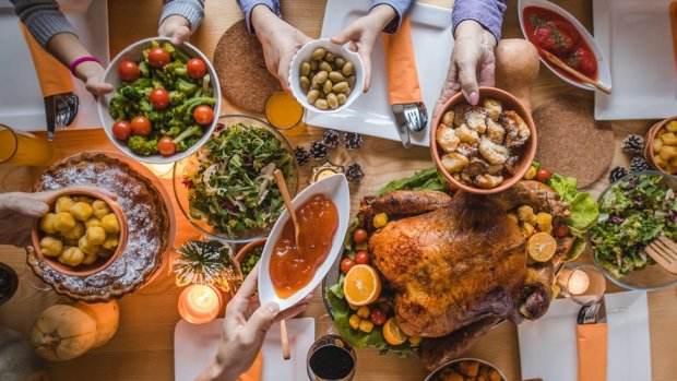 Stock image of US Thanksgiving spread