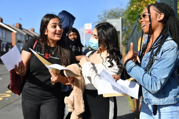 Students open their GCSE exam results