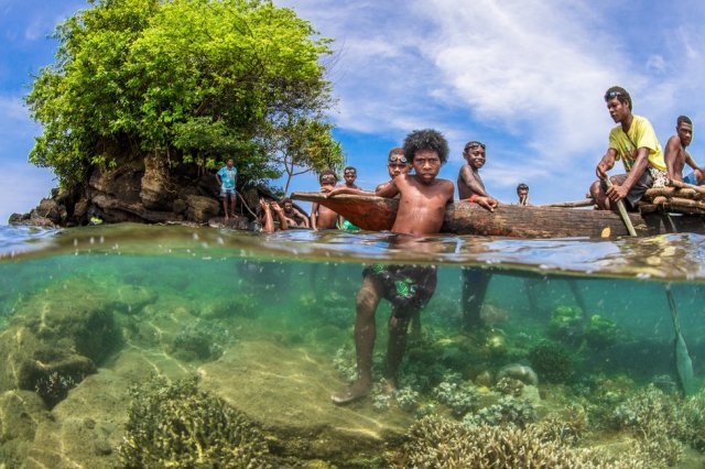 A group of adults and children in the waters near mangrove trees