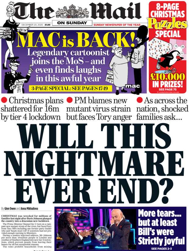 The Mail on Sunday front page 20 December 2020