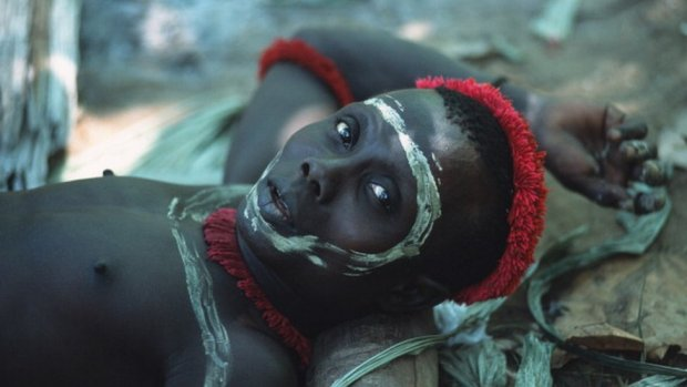 A Jarawa man with a painted face