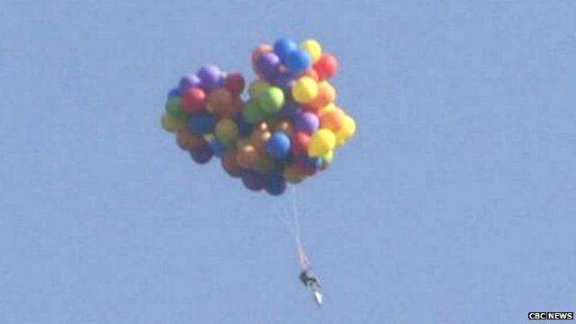 chair with balloons stressless review canadian flew over calgary in carried by bbc news
