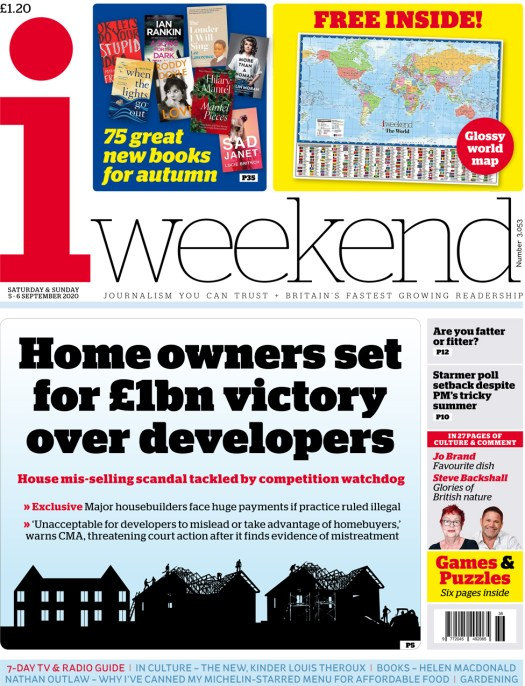The i weekend front page 5 September 2020