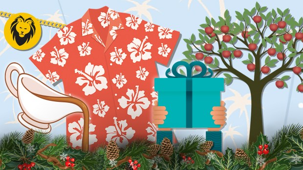 Illustration of a Hawaiian shirt, lion's head necklace, gravy boat, crab apple tree and hands holding a present