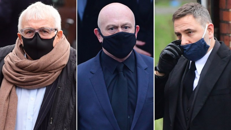 Left-right: Christopher Biggins, Ross Kemp and David Walliams were among the mourners