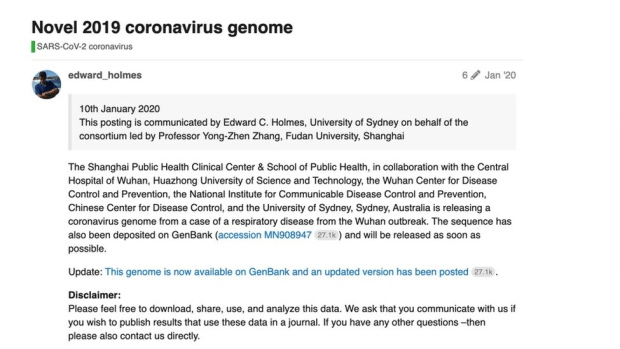 The post on virological.org on 10 January 2020