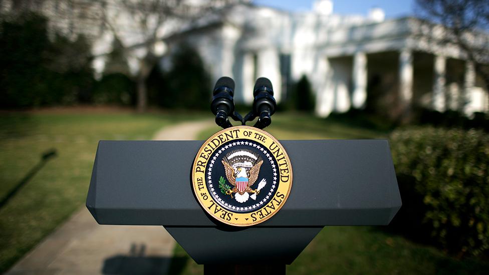 trump Photo: The presidential podium outside the White House