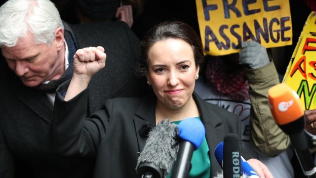 "Wikileaks founder Julian Assange""s partner, Stella Moris, raises her fist as she speaks to the media outside the Old Bailey, London, following the ruling that he cannot be extradited to the United States. Assange, 49, was facing an 18-count indictment, alleging a plot to hack computers and a conspiracy to obtain and disclose national defence information."