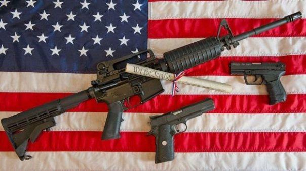 Armas sobre la bandera de EE.UU.