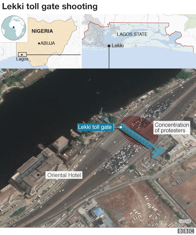 Map showing where incident in Lagos took place