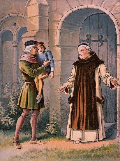 Ilustración de Cristóbal Colón con su hijo Diego y un monje. 2 de enero de 1754