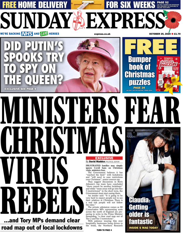 The Sunday Express front page 25 October