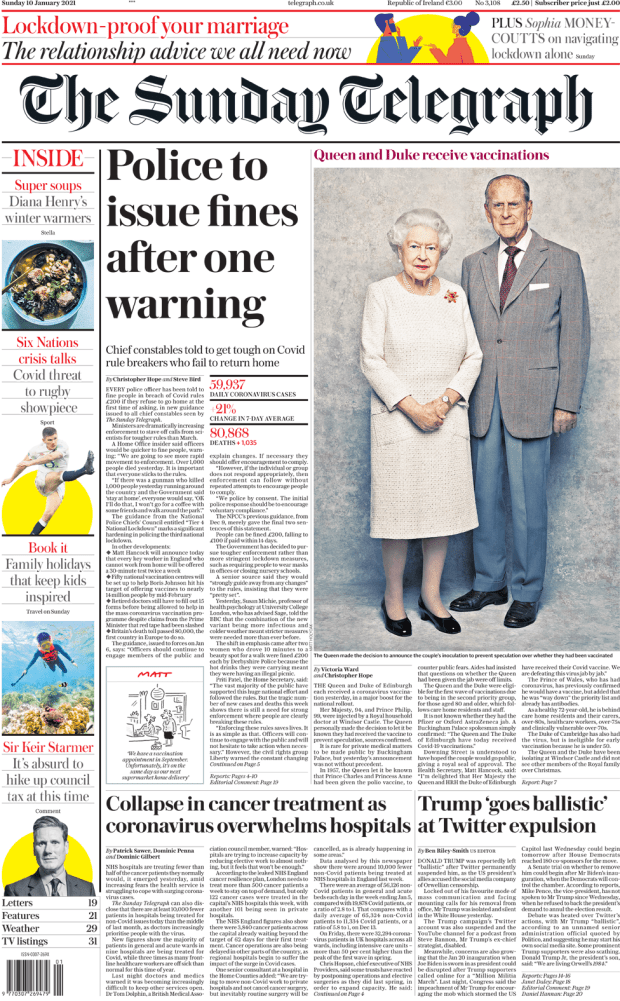 The Sunday Telegraph front page 10 January 2021