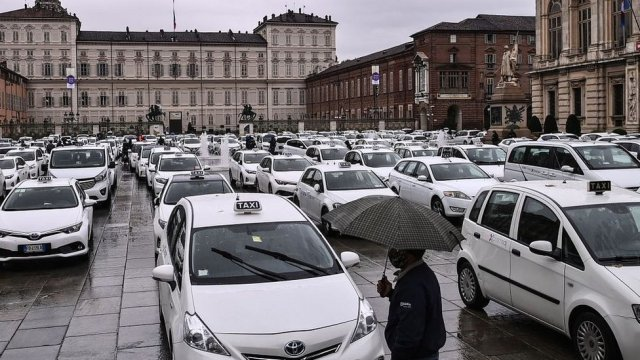Piazza Castello square in Turin, on October 26, 2020, during a strike to protest against Covid-19 (coronavirus) restrictions.