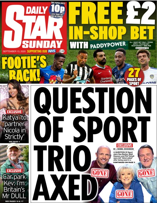 The Daily Star Sunday front page 13 September