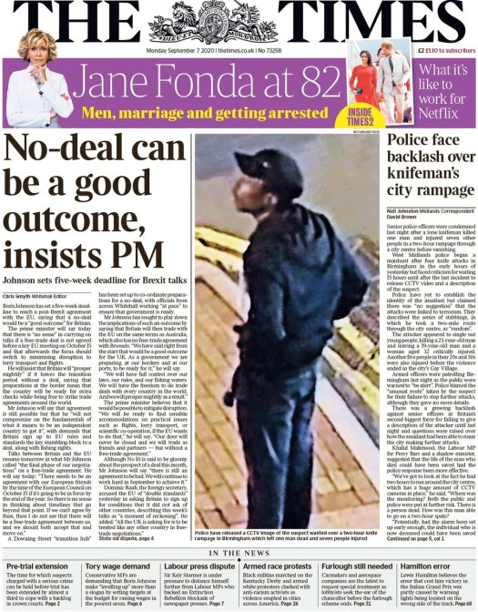 Times front page, 7/9/20