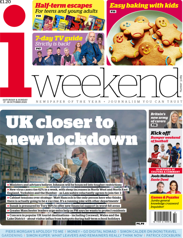 The i weekend front page 17 October 2020