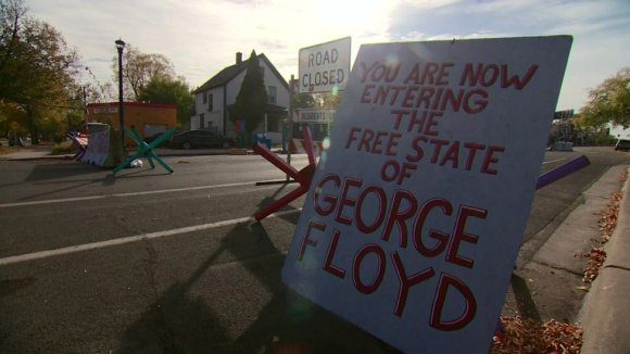 There is now a 'police free zone' at the memorial site where Floyd died
