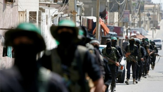 Hamas militants march in Gaza City (July 2020)