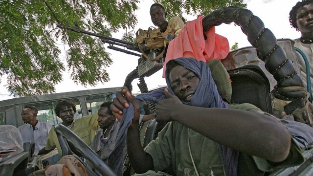 Fighters of the Sudan Liberation Army/Movement (SLA/M) of Minni Minawi in a vehicle in a camp in Southern Darfur - 2007