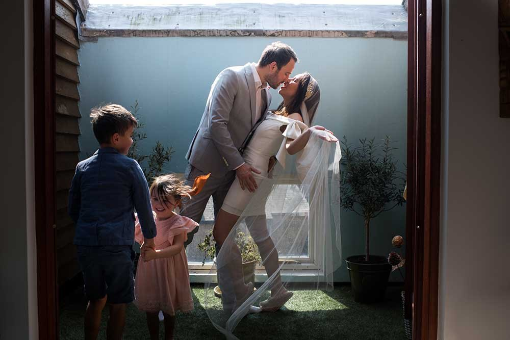 Celebrating a postponed wedding at home
