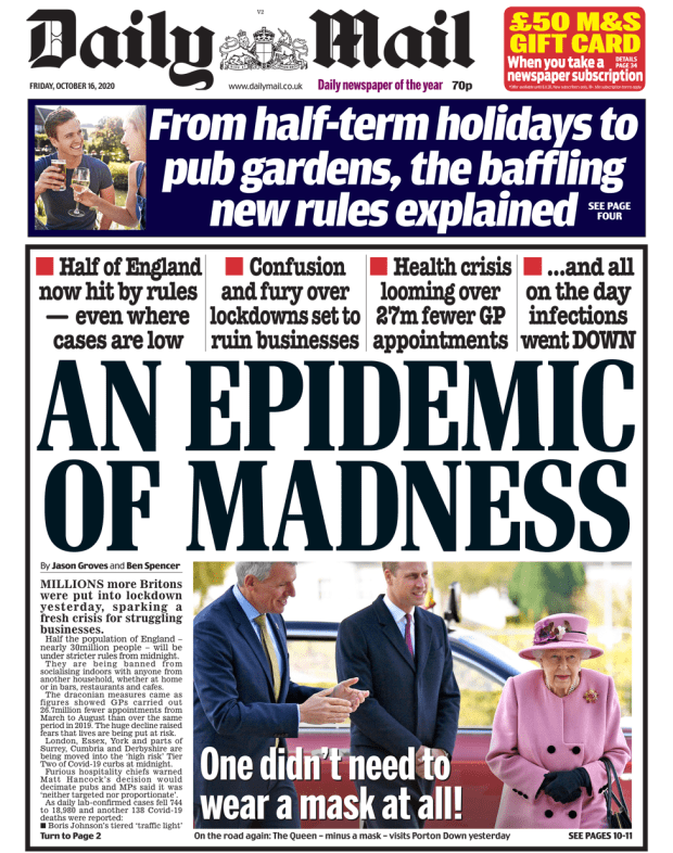 Daily Mail front page 16/10/20