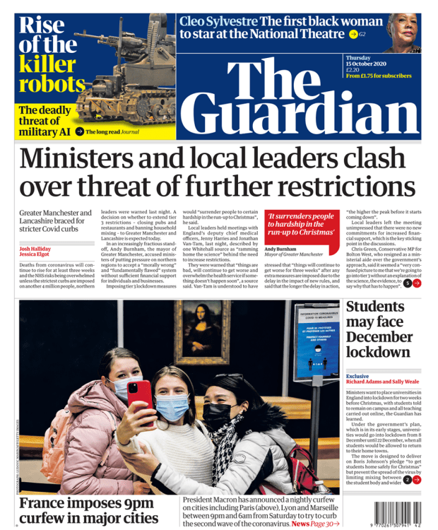 Guardian front page 15/10/20