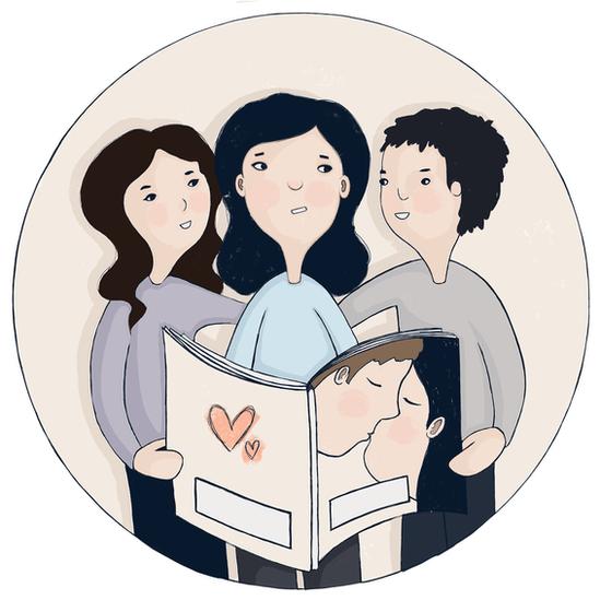 Animación de una familia leyendo un libro sobre romance.