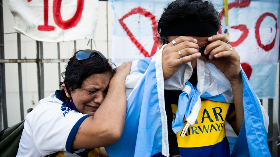 Fans cry for Diego Maradona after the news of his in Buenos Aires