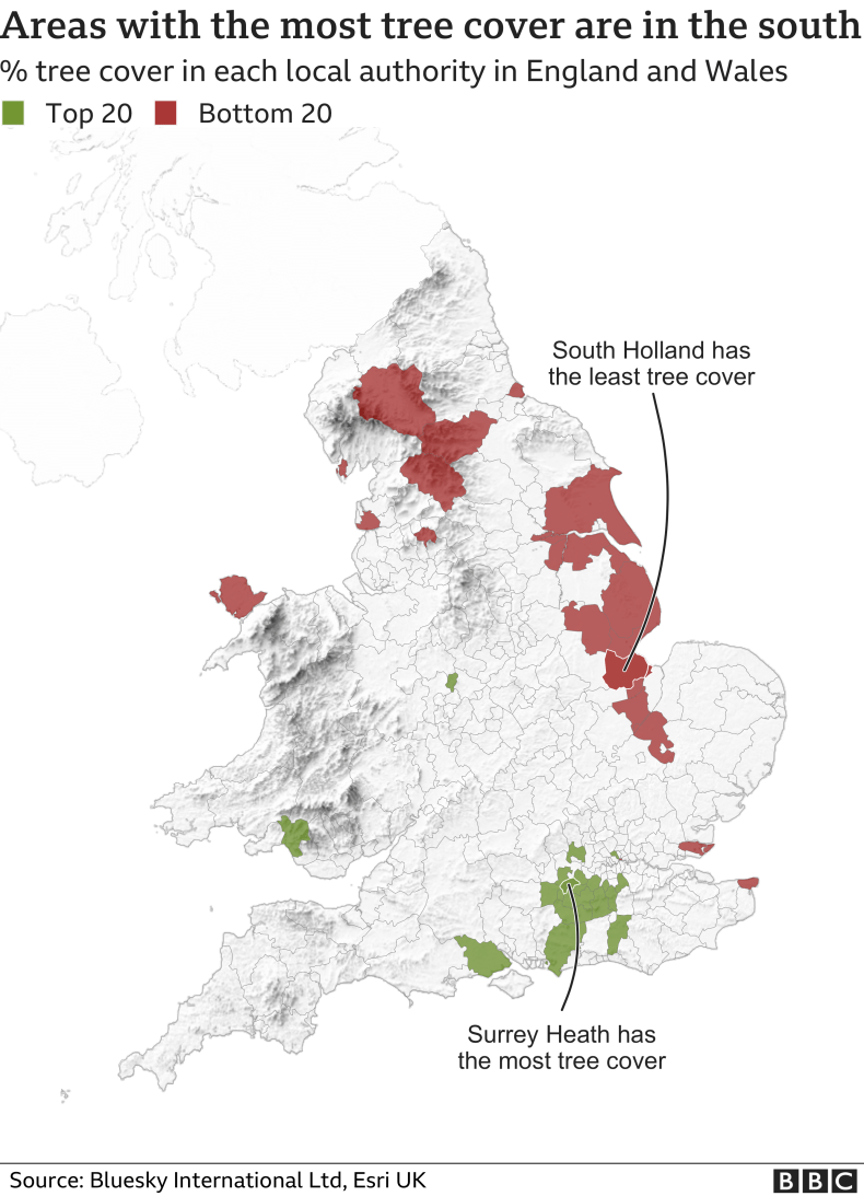 A map of the top and bottom places for tree cover in England and Wales. The places in the bottom 20 are mainly along the east coast. The top 20 places are concentrated in the south east around Surrey.